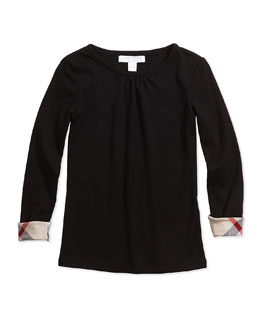 Burberry Check-Cuff Long-Sleeve Tee, Black, Girls' Sizes 4-14