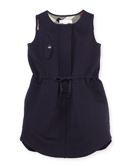 Burberry Girls' Gabardine Sleeveless Dress, Navy, 4Y-10Y