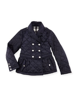 Burberry Girls' Quilted Double-Breasted Coat, Navy, 4Y-10Y