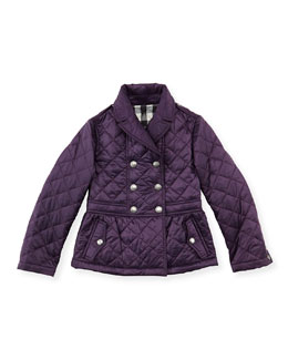 Burberry Girls' Quilted Double-Breasted Coat, Wine, 4Y-10Y