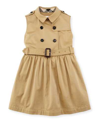 Burberry Sleeveless Trench Dress, Amber, Girls' 4Y-10Y