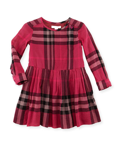 Burberry Plisse Long-Sleeve Check Dress, Fuchsia, 4Y-10Y