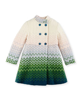 Missoni Zigzag Knit Double-Breasted Coat, Multi, Girls' 2-10