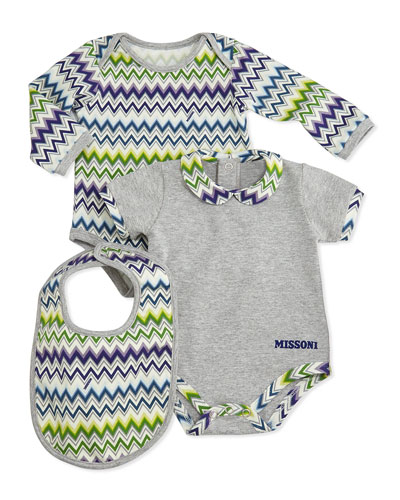 3-Piece Zigzag Playsuit & Bib Set, Blue/Green, 0-9 Months