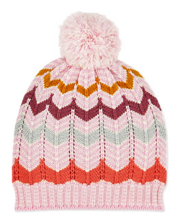 Missoni Kids' Zigzag Knit Pom Pom Hat