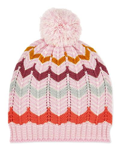 Missoni Kids' Zigzag Knit Pom Pom Hat
