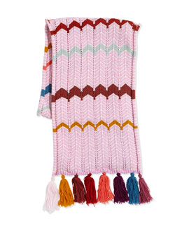 Missoni Kids' Zigzag Knit Tassel Scarf