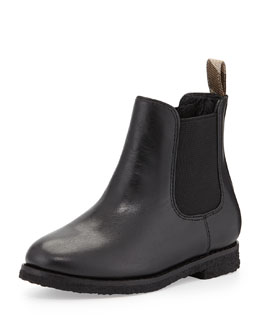 Burberry Short Leather Weather Boot, Black, Kids'
