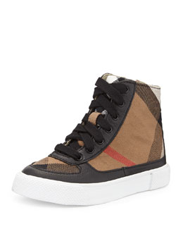 Burberry Canvas/Leather High-Top Sneaker, Black, Infants'
