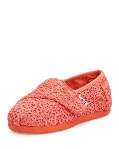TOMS Crochet Classic Slip-On, Coral, Tiny