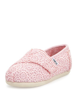 TOMS Crochet Classic Slip-On, Pink, Tiny