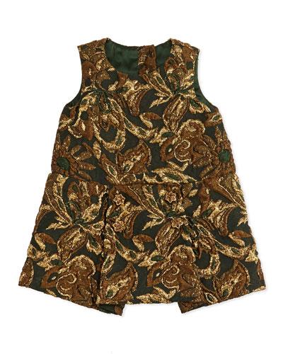Dolce & Gabbana Brocade Drop-Waist Dress, Burgundy Multi, 3-24 Months