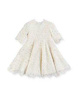 Dolce & Gabbana Guipure Lace Half-Sleeve Dress, Girls' 8-12