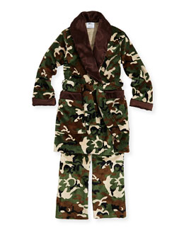 Swankie Blankie Kid's Camo-Print Lounge Pants & Robe Set