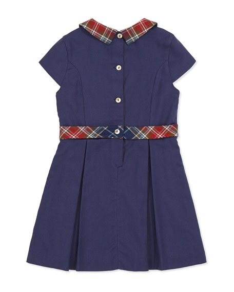 Plaid-Trim Party Dress, Girls' 3Y-6Y