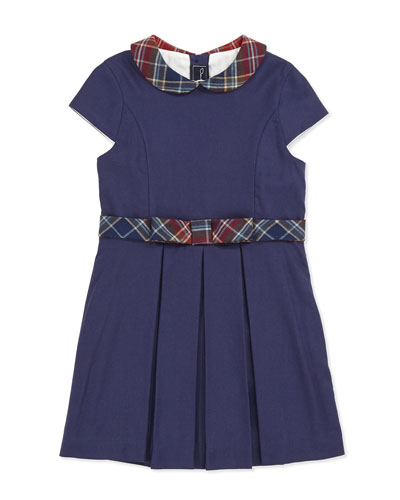 Plaid-Trim Party Dress, Girls