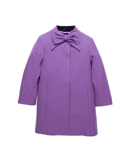 Oscar de la Renta Wool Bow-Neck Coat, Purple, Girls' 2Y-14Y