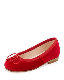 Oscar de la Renta Girls' Velvet Sabrina Ballet Flats, Red