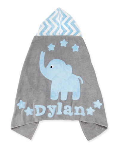 "Personalized ""Big Foot"" Elephant Hooded Towel, Blue `"