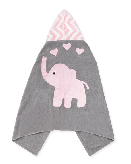 "Personalized ""Big Foot"" Elephant Hooded Towel, Pink"
