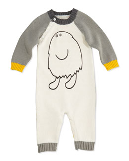 Stella McCartney Monster Graphic Colorblock Knit Playsuit, 3-24 Months