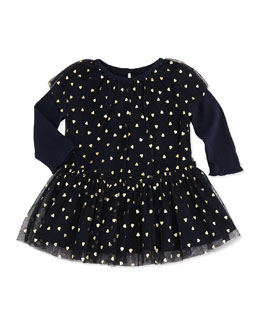 Stella McCartney Tulle Heart-Print Dress, Navy, 3-24 Months