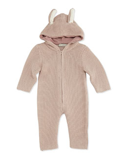 Stella McCartney Hooded Knit Playsuit with Ears, Pink, 3-24 Months