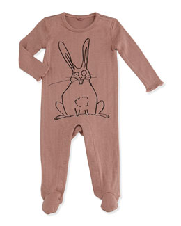 Stella McCartney Rabbit-Print Pointelle Footie, Pink, 3-24 Months