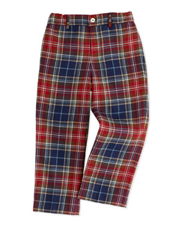 Oscar de la Renta Classic Plaid Wool Pants, Navy/Red, 2Y-10Y