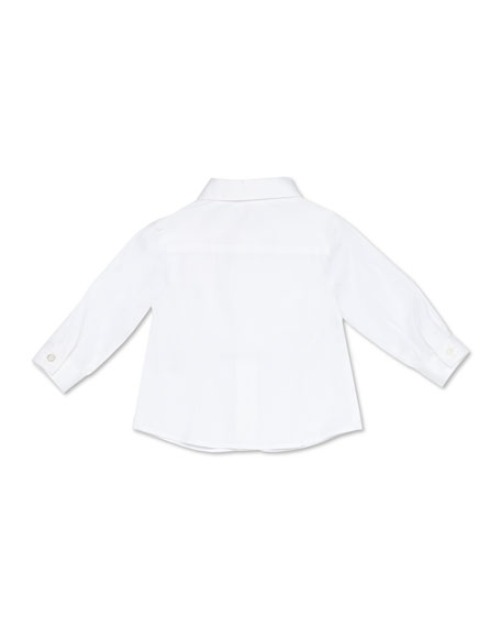 Image 2 of 2: Gucci Stretch-Cotton Tuxedo Shirt, White, 3-36 Months