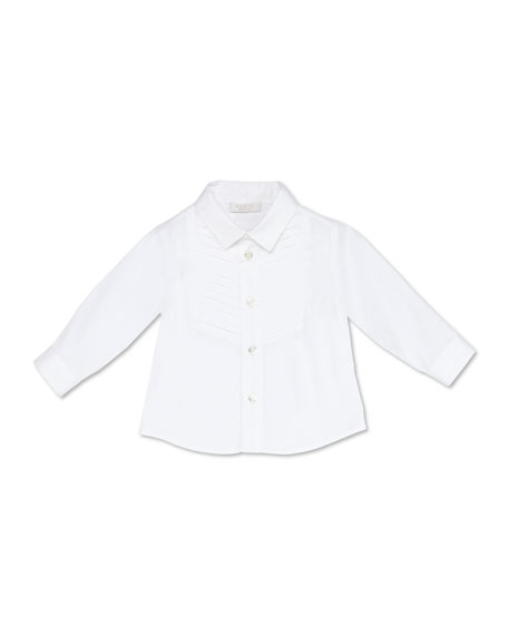 Image 1 of 2: Gucci Stretch-Cotton Tuxedo Shirt, White, 3-36 Months