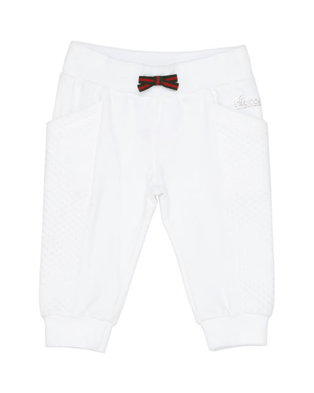 GucciTrack Pants with Web Bow, White, Girls' 0-36