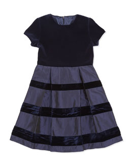 Oscar de la Renta Velvet & Taffeta Party Dress, Girls' Navy, 2Y-14Y