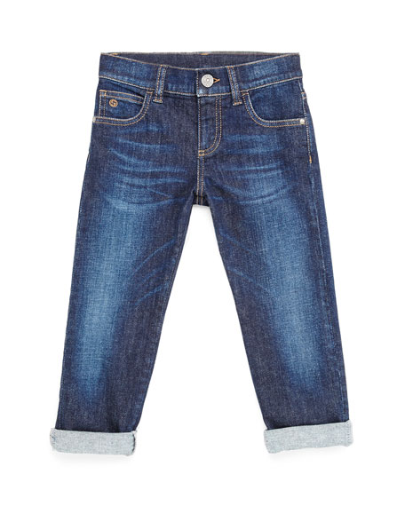 Gucci Stretch-Denim Jeans, Kids' Sizes 4-12