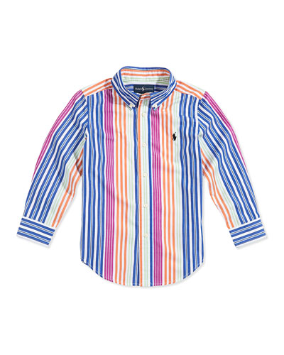 Ralph Lauren Childrenswear Blake Multistriped Poplin Shirt, Boys' 4-7