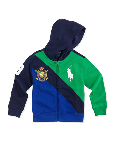 Ralph Lauren Childrenswear Big Pony Colorblock Full-Zip Hoodie, Navy Multi, Boys' 4-7