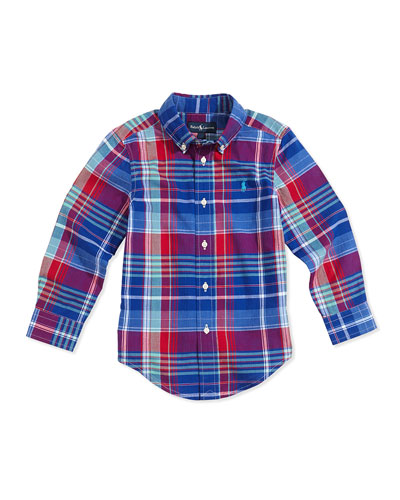 Ralph Lauren Childrenswear Madras Plaid Button-Down Shirt, Royal Multi, Boys' 4-7