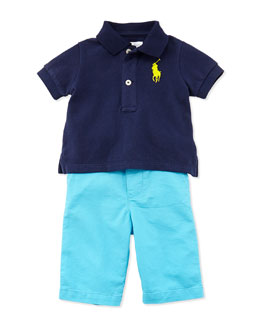 Ralph Lauren Childrenswear Polo Shirt & Preppy Shorts Set, Newport Navy, Boys' 9-24 Months