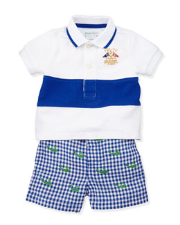Ralph Lauren Childrenswear Single Striped Polo & Schiffli Shorts Set, Sizes 9-24 Months