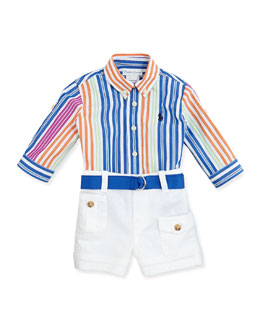 Ralph Lauren Childrenswear Poplin Striped Button-Front Shirt & Shorts Set, Sizes 9-24 Months