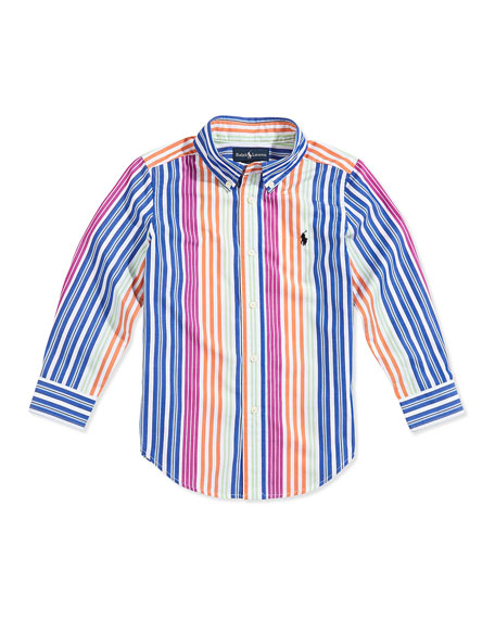 Blake Multistriped Poplin Shirt, Boys' 2T-3T