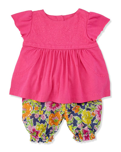 Ralph Lauren Childrenswear Enzyme Boho Floral Tunic & Bloomers Set, Madison Pink, Sizes 9-24 Months