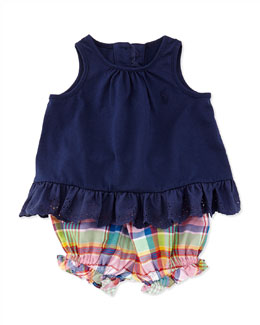 Ralph Lauren Childrenswear Enzyme Eyelet Trimmed Tunic & Plaid Bloomers Set, Newport Navy, Sizes 9-24 Months