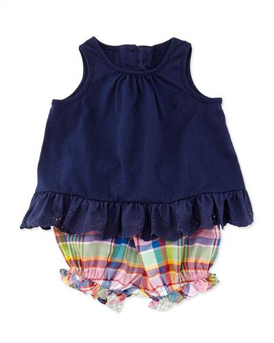 Ralph Lauren Childrenswear Enzyme Eyelet Trimmed Tunic & Plaid Bloomers Set, Newport Navy, Sizes 9-24 Months