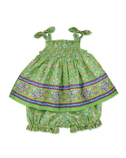 Ralph Lauren Childrenswear Smocked Sunset-Print Dress & Bloomers Set, Green, Sizes 9-24 Months