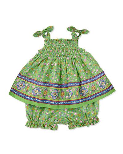 Ralph Lauren Childrenswear Smocked Sunset-Print Dress & Bloomers Set, Green, Sizes 9-24 Months