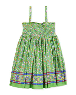 Ralph Lauren Childrenswear Batiste Smocked Floral-Print Dress, Green, Girls' 2T-3T