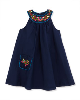 Ralph Lauren Childrenswear Floral Embroidered Batiste Dress, Newport Navy, Girls' 2T-3T