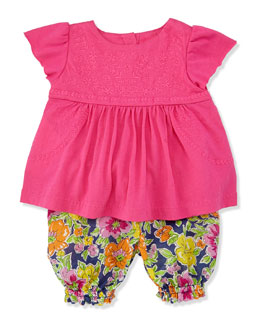 Ralph Lauren Childrenswear Enzyme Boho Floral Tunic & Bloomers Set, Madison Pink, Sizes 3-12 Months