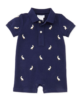 Ralph Lauren Childrenswear Schiffli Mesh Pelican Embroidered Playsuit, Navy, Boys' 3-24 Months